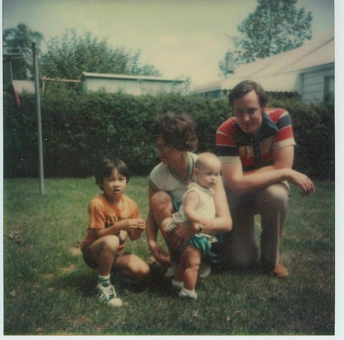 A childhood photo of Maaswinkel with his adoptive parents and sister in Collegeville, Penn.