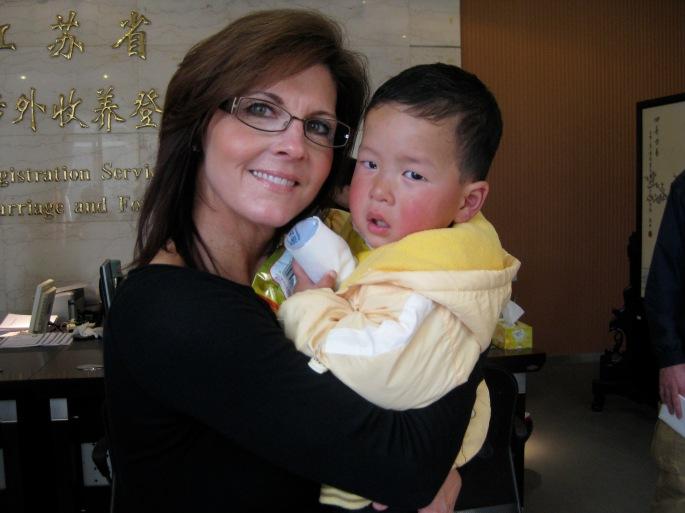 Adopting Luke in 2008.